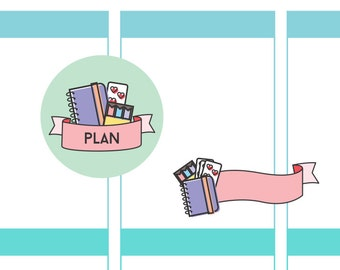 Plan Badge / Ribbon Planner Stickers | For your planner, scrapbook, agenda, calendar | D27/ D29