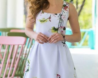 Flower white dress short sleeve Midi dress spring Summer dress floral print White Dress Casual dress women's Loose Gown Summer