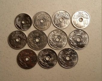 11 greece vintage coins 1954 - 1971  - coin lot lepta - world foreign collector money numismatic a74