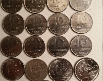 22 brazil vintage coins 1967 - 1984 - coin lot centavos cruzeiros - world foreign collector money numismatic a103