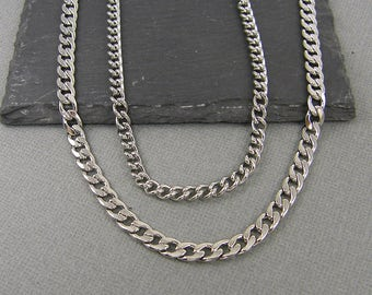 Stainless Steel Curb Chain Men's Necklace Chain 18, 20, 22 Inch Silver Chain Jewelry for Him Unisex Steel Chain 18in-ST3-03 | 20,22in-ST2-02