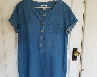 vintage denim short-sleeved dress