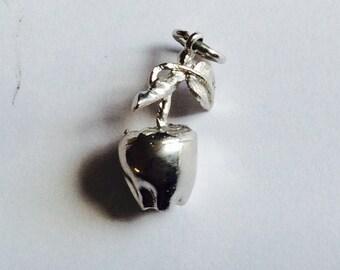 Apple on branch sterling silver charm vintage # 492