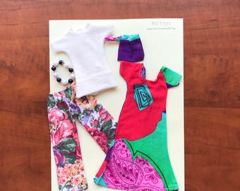 Handmade Barbie Outfit with Accessories . Barbie Clothes . Barbie Doll Clothes. Barbie Doll Outfit