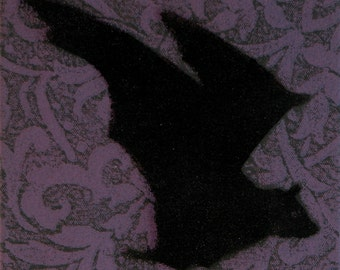 Gothic/Kitsch Flying Bats! Original relief & stencil print, in acrylic and lacquer on stretched canvas. Discount for three...
