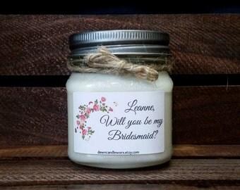 Will You Be My Bridesmaid Gift - 8oz Soy Candles Handmade - Bridesmaid Gift - Bridal Party Favors - Personalized Bridesmaid Proposal