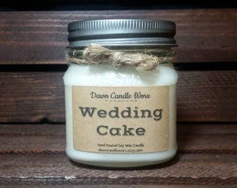 8oz Wedding Cake Scented Candles - Soy Candles Handmade - Mason Jar Candles - Rustic Candles - Wedding Gift - Wedding Candles - Unique Gift
