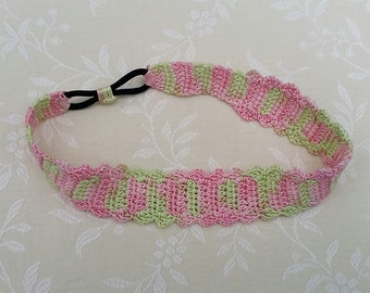Crochet headband in pastel pink and green, cotton crochet headband, women's headband, hair accessory