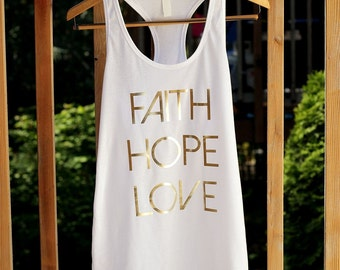 Faith Hope and Love Racerback Tank Tops for Women Faith Hope Love Workout Tank Top Christian Tank Tops Christian Shirts Long Tank Tops Barre