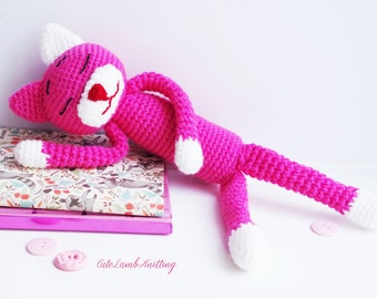 Haak Amineko Cat, kat, amigurumi haak speelgoed, gehaakte gevuld dier, gehaakte dieren, gehaakte knuffel, handgemaakte speelgoed, zachte speelgoed haken