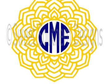Mandala monogram circle frame SVG instant download design for circuit or silhouette