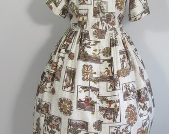 50s Day Dress 18th Century Old English Country Scenes Print Dress- UK 14/16