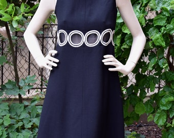 Space Age 1960 Windows Black Crepe Dress