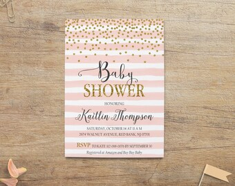 Pink Gold Baby Shower Invitation, Girl Baby Shower Invites, Pink Stripe Invitations, Gold Pink Baby Shower, Printable Suite, GP 5x7