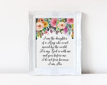 Baptism Gift, I am the daughter of a king, Scripture Print, Princess Quote, Daughter of God, Watercolor Floral, Nursery Decor, Nursery Print