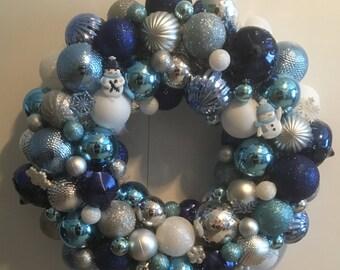 Christmas Ornament Wreath - Christmas Ball Wreath - Holiday Wreath - Blue, White, Silver