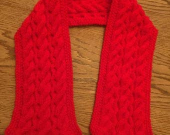 handmade cable knitted scarf