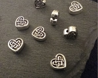 8 x Antique Tibetan Silver Celtic Knot Heart Beads