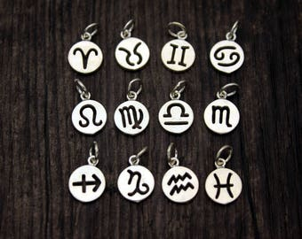 Sterling Silver Zodiac Charm,Personalized Gift,Zodiac Symbol Charm,Birthday Charms,Zodiac Round Disc,Add On Charm