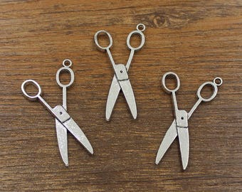 20pcs Scissors Charm Antique Silver Tone 22x40mm - SH531