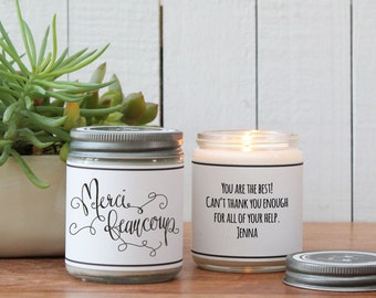 Merci Beaucoup Candle Greeting - Thank You Gift | Appreciation Gift | Teacher Appreciation Gift | Candle Gift | Thank You Card