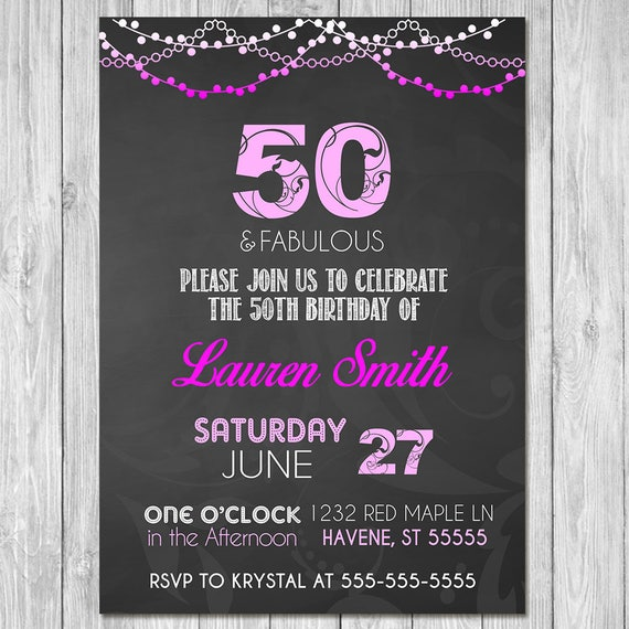 50th Birthday Invitation Chalkboard Hot Pink Invite - Chalkboard Invite - Chalkboard Birthday Invitation - 50th Birthday Party - ANY AGE
