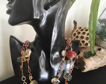 Citrine & Lampwork Glass Bead Necklace