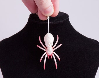 Brooch to order. Monk-Skull spider brooch. Goth witch style brooches and jewelry