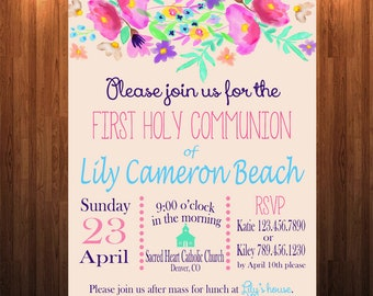 First Communion Invitation, Catholic Sacrament Invitation, Baptism Invitation