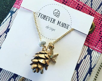 REAL Pinecone Charm Necklace