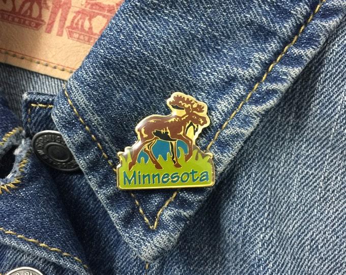 Vintage Minnesota Moose enamel Lapel pin (stock# 437) hat pin, MN, enamel pin, flair, midwest, state, travel