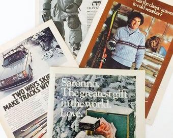 Vintage Magazine Ads Ephemera Set 1970s • Pink Roses, Snow, Italian Amaretto, Winter, Ski Travel, Oregon, Jantzen Sweater, Volvo, Dewar's