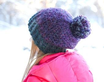Crochet Hat PATTERN: Kids Slouchy Hat, Slouchy Crochet Hat, Pompom Hat, Slouchy Beanie, Toque Hat Pattern, Basic Beanie, Unisex Hat, WeeYarn