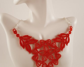 Red lace necklace Lace jewelry Red necklace Bib Necklace Statement necklace Bridesmaids gift Large necklace Bib lace jewelry Necklaces