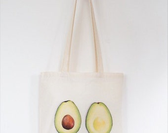Avocado Tote Bag, Ethically Produced Reusable Shopper Bag, Farmers Market Bag, Cotton Tote, Shopping Bag, Eco Tote Bag, Reusable Grocery Bag