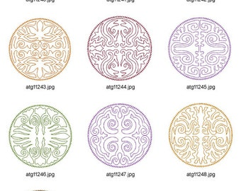 Native-Lineart-Coasters ( 10 Machine Embroidery Designs from ATW )