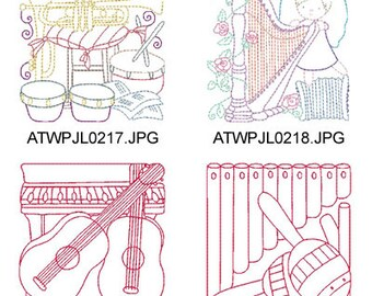Multiline-Musical-Instrument-Blocks ( 10 X2  Machine Embroidery Designs from ATW ) XYZ17E
