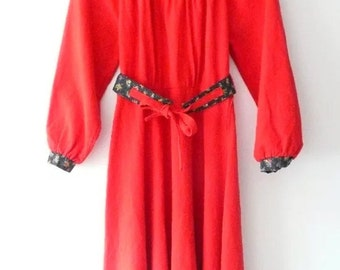 Vintage 70's Red Dress Size 12