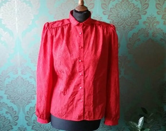 Vintage/Retro 80's Red Patterened Blouse Size 10
