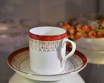 Vintage Royal Grafton set of 5 coffee cans and saucers Majestic design,red and gold espresso cups and saucers/ demitasse / ships worldwide