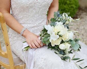 Bridal cuff/bracelet/rhinestone cuff/gifts for her/silver cuff/statement bridal/bridesmaid gift/bride gift/vintage bracelet/wedding gifts