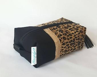 Leopard Makeup Bag - Black Makeup Bag - Make up Bag - Cosmetic Bag - Makeup Organizer - Makeup Storage - Makeup Case - Toiletry Bag - Gift
