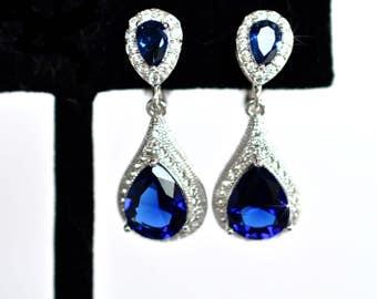 Sapphire Blue Pear Cubic Zirconia CZ Waterdrop Dangle Clip-On Bridal Earrings, Bridal, Wedding (Sparkle-2411)