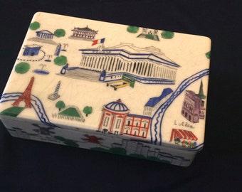 Card box . Ceramic vintage box. Delvaux PARIS .1930.ART DECO Design. Home decor