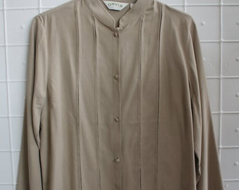 Vintage With Tags Women's Slate Gray Silk Button Dress Shirt Top by Orvis  Size Medium