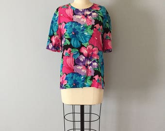 watercolor painting silk crop top    1980s flower silk cropped blouse