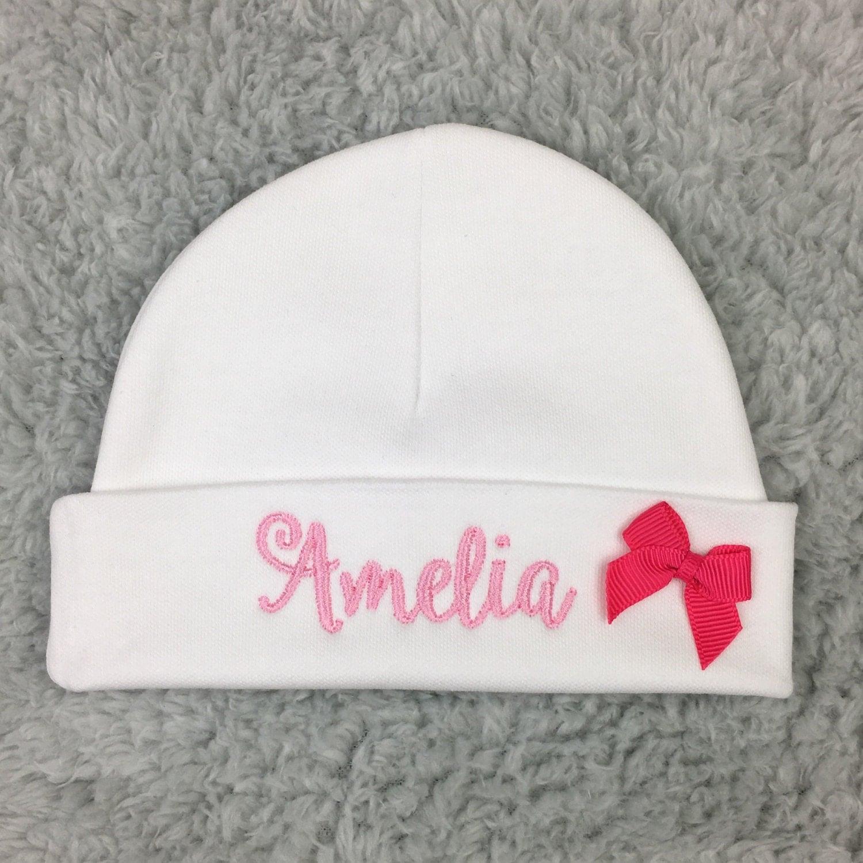 Personalized baby girl hat w bow micro preemie hat preemie hat