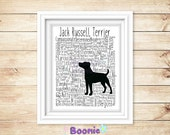Jack Russell Terrier Print Art Work Typography On A4 Top Quality Card 10x8