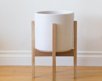 Medium Danish Modern Planter, Plant Stand - White Oak
