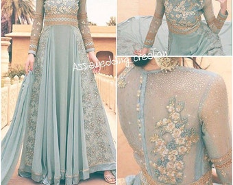 Indian Anarkali dress for modest woman blue grey color hight quality tissue fabrivc new 2017